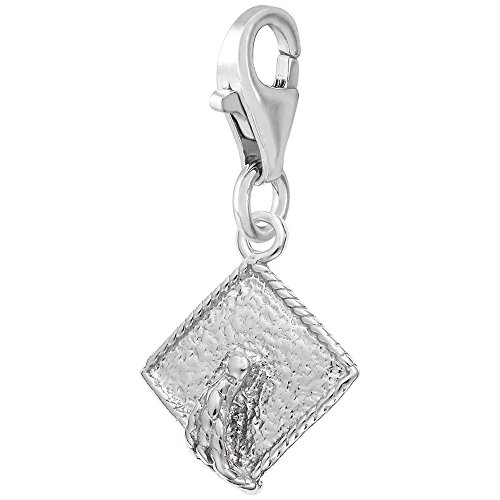 - Sterling Silver Graduation Hat Charm With Lobster Claw Clasp, Charms for Bracelets and Necklaces