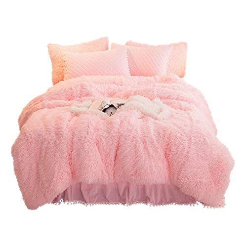 YOUHAM Luxury Faux Fur Bedding Sets Shaggy Plush Duvet Cover Sets Crystal Velvet Reversible Quilted Pillow Shams with Pompoms Fringe, Zipper Closure (Queen, Pink)
