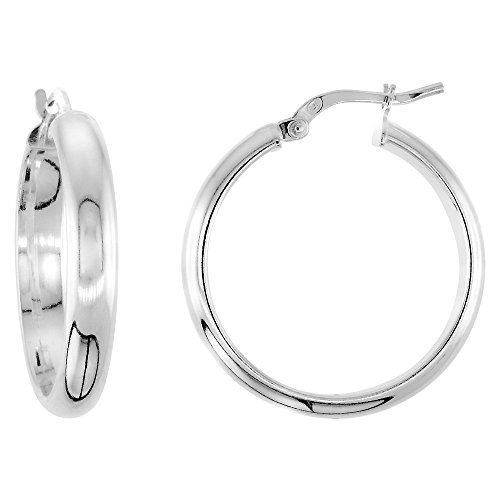 Sterling Silver Pirate Hoop Earrings Half Round Post Snap Closure High Polish Medium, 1 inch -