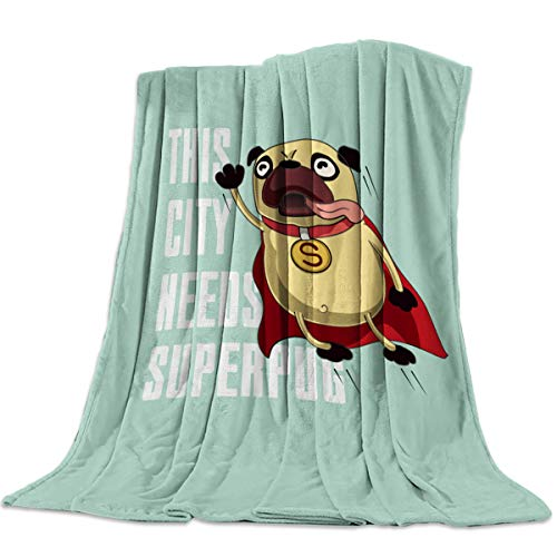 OUR WINGS Flannel Fleece Bed Blanket,Warm and Soft,Girls/Boys Blanket for Camping,Picnic,Beach,Interesting Shar Pei This City Needs Superpug (60 x 80 Inches) -