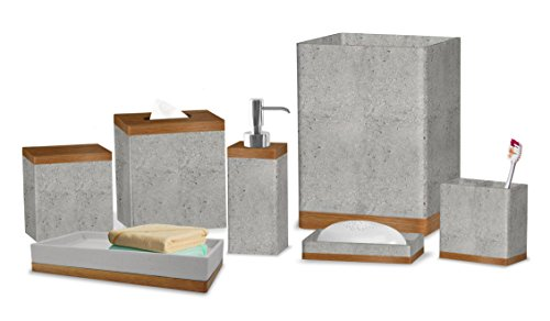 nu steel CON-7PC/SET Concrete Collection Bathroom Accessories, 7 Bath Set Including Dispenser, Toothbrush Holder, Canister, Soap Dish, Tray, Square Tissue Cover & Wastebasket, Stone Gray Finish