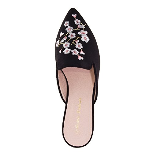 Andres Machado AM5249 Suede Flower Flat Mules.Large Sizes:UK 8 to 10.5/EU 42 to 45. Black Suede Flower spDwGny
