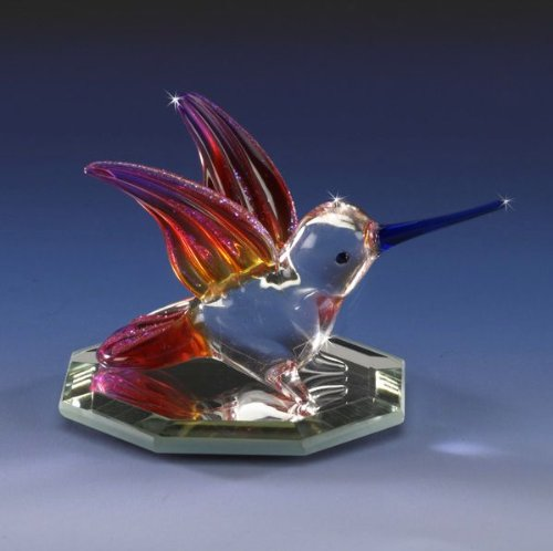 Miniature Hummingbird Red & Orange Crystal Glass Figurine Collectible Glitter Frosted NIB