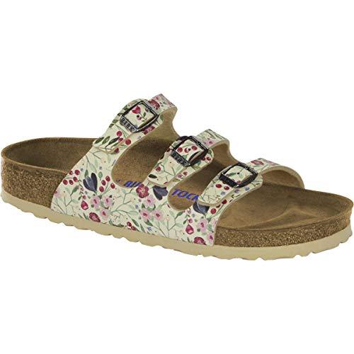 (Birkenstock Women's Florida Soft Footbed Sandal Flower Beige Birko-Flor Size 40 N EU)