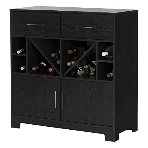 South Shore Vietti Bar Cabinet with Bottle Storage and Drawers, Black Oak - Vintage Bar Cabinet: Amazon.com