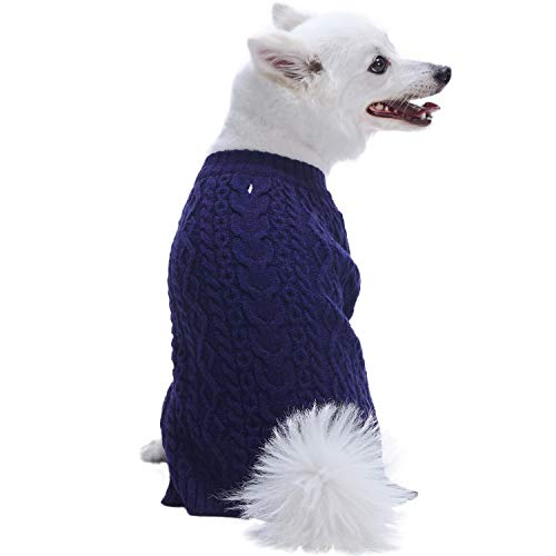 Blueberry Pet 2019 New 16 Colors Classic Wool Blend Cable Knit Pullover Dog Sweater in Midnight Blue, Back Length 12
