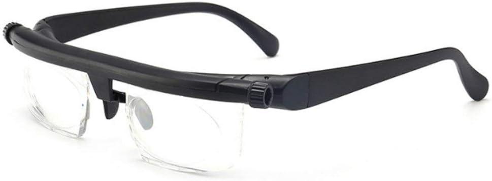 NOBRAND Yiomwaomog Ligeras Gafas de Lectura Ajustables miopía Gafas -6D a Intensidad Variable de Aumento de dioptrías + 3D centran visión (Color: Negro y Transparente)