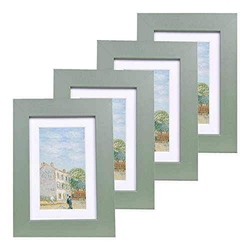 Muzilife 4x6 Wood Picture Frame - Flat Profile - Set of 4 - for Picture 3x5 with Mat or 4x6 Without Mat (Green)