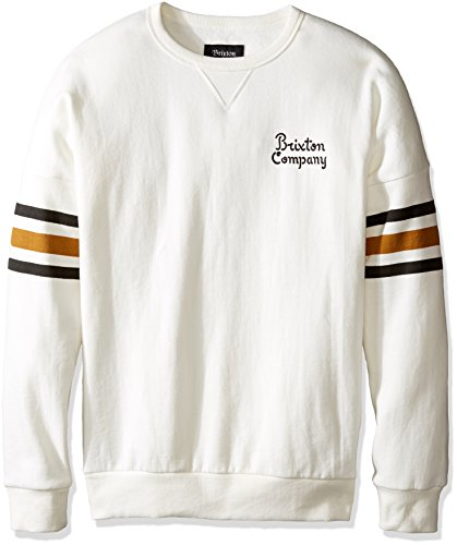 Brixton Men's Barton Standard Fit Crew Fleece, Off White, Large