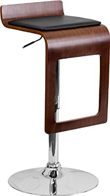 Flash Furniture 2-Pack Walnut Bentwood Adjustable Height Bar Stool with Black Vinyl Seat and Drop Frame