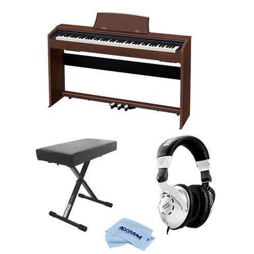 Casio PX-770 Privia 88-Key Digital Console Piano with 2x 8W Amplifiers, Walnut - Bundle With Behringer HPS3000 High-Performance Studio Headphones, On-Stage Deluxe X-Style Keyboard Bench, Fiber Cloth by Casio