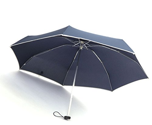 Unicolor Superb Compact Umbrella, WITERY Large Umbrella Blizzard-Proof Windproof Stylish 5-Folding Lightweight Travel Umbrella / Compact Ultra-Slim Business Umbrella - Sun Rain Protection - Blizzard Beach Open
