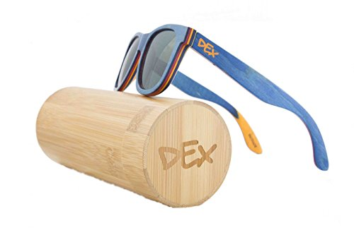 Dex Shades - Eco Friendly Sunglasses Made From Recycled Skateboard Decks - Polarized, Includes Bamboo Case and 1 Year Warranty (Blue, - Wood Recycled Sunglasses