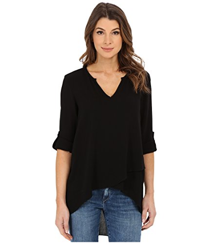 Karen Kane Women's Split Neck Asymmetrical Hem Top Black Shirt