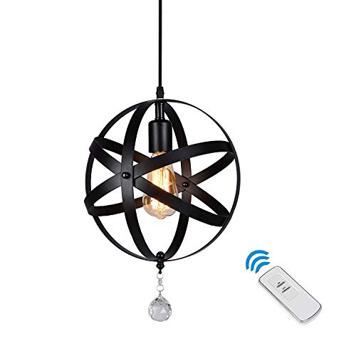 HMVPL Industrial Globe Pendant Lights with Remote Control and Hard-Wired Canopy, Vintage Spherical Hanging Lamp Fixture for Kitchen Island Table Dining Room Bedroom Entryway Bar Foyer