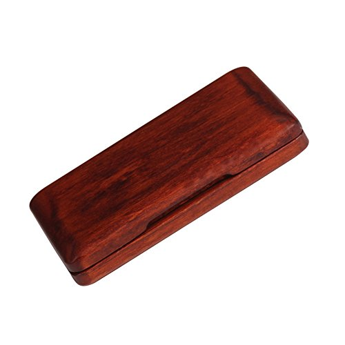 Portable Walnut Wood Reed Case, Hard Vintage Style Smooth Surface Reed Storage Box for Sax Clarinet Reeds(Amber Red) by Alomejor