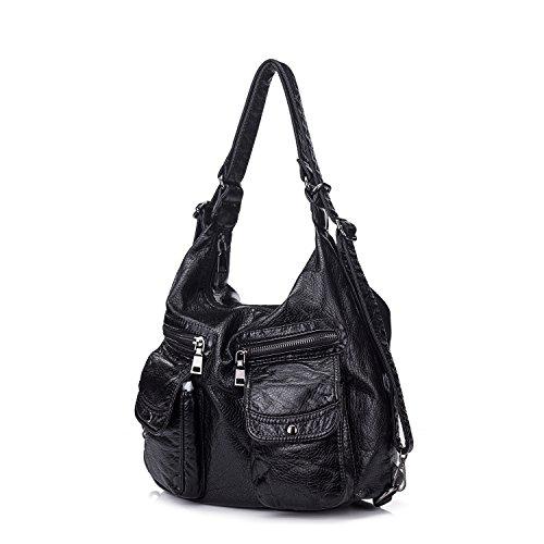 UBORSE Shoulder Bag Washed PU Leather Backpack Crossbody ...