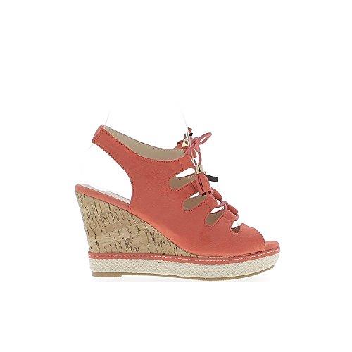Sandalen rot kompensiert Frauen in den Fersen 10cm von der Spitze geschlossen