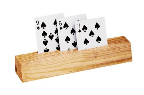 9'' 3 Slot Wooden Card Holders Set of Two, Natural Finish by CHH