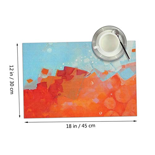 Carmen Belinda Abstract Scenery Placemats Set of 4 for Dining Table Washable Place Mats for Kitchen/Dinning Table, Home Table Decor Non-Slip Heat Resistant, 12x18 Inches ()