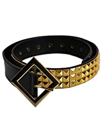 Suicide Squad Harley Quinn Belt for Women Girls Kids Cosplay Accessory Outfit Pyramid Studded Belt (Gold&Black)
