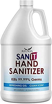 Hand Sanitizer Gel: One Gallon Alcohol Based Bulk (128 oz) 70% Isopropyl .Alcohol Refill Jug by Regalia (128 o