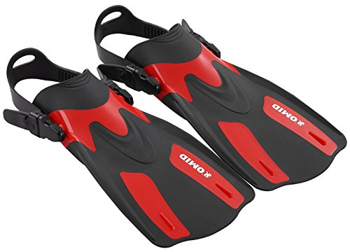 OMID Dive Fins - Open Heel Flippers with Easy-Adjustable Strap for Adult Swimming and ()