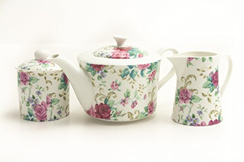 [Country Roses Porcelain 3 Piece Gift Set - Teapot, Pitcher, Covered Sugar - by Shannonbridge Ireland] (Covered Sugar Cup)