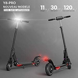 GÜMÜ Y8 – Trottinette électrique, Electric Scooter Batterie 7.5Ah Longue portée de 30km, Moteur 350W Vitesse Max 30km/h,8 Pouces Patinette Pliable avec 3 Modes De Conduite, Affichage à LCD