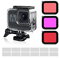 The FINEST+ professional waterproof housing case with 3-Pack dive filters are designed for GoPro HERO 8 Black action camera only. They will give you a better protection for you GoPro and help to improve contrast for video and photography in d...
