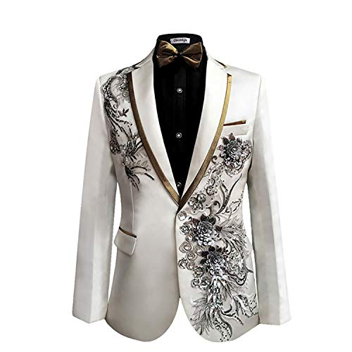 Cloudstyle Mens Peak Lapel One-Button Wedding Party Blazer Jacket and Pants, Large, White 2