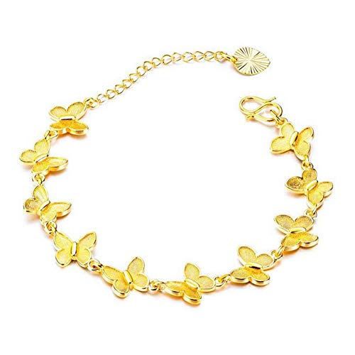 DX.OPK Butterfly Gold Bracelets for Women 18K Yellow Gold 16+5cm/6.3+2in Adjustable Bracelet Perfect Birthday Christmas Valentine's Day Wedding Jewelry Gifts