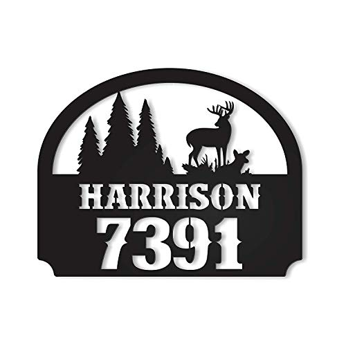 CELYCASY Outdoor Metal Personalized Address Sign with Deer Scene