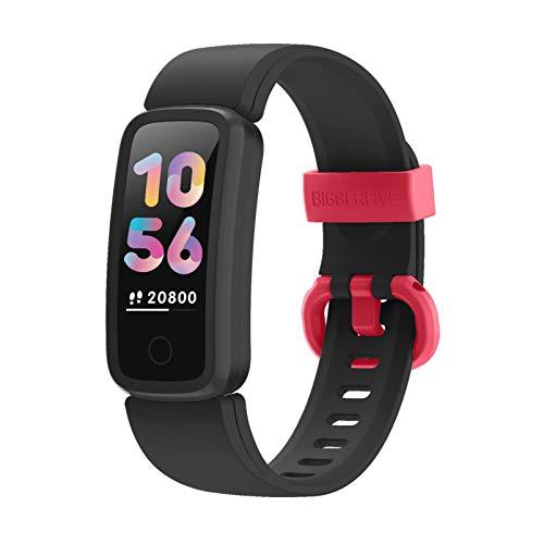 BIGGERFIVE Vigor Fitnesstracker voor Kinderen Meisjes Jongens Tieners, Activiteitstracker, Stappenteller, Hartslagmeter…