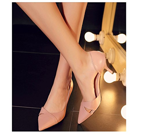 Sweet Nude Color High Heels Cowhide Shallow Mouth Shoes Bridal Shoes Wedding Shoes (Color : Pink, Size : 38)