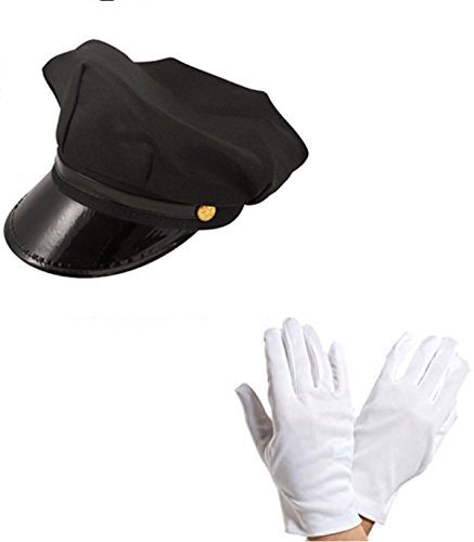 Chauffeur Cap Limo Taxi Driver Hat and White Gloves Fancy Dress Kit by Blue Planet - Planet Clothing Blue Online