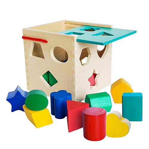 Premium Wooden Shape Sorter Toy w/ Sliding Lid & Carrying Strap 12 Color Solid Wood Geometric Shape Puzzle Pieces - Classic Developmental Toy for Preschool Toddlers 1 2 & 3 Year Olds