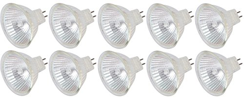 [10 Pack] Simba Lighting 35 Watt FMW 12 Volt MR16 Halogen Spotlight Bulbs 2-Pin 510lm 38° Beam Angle 35W 12V for Accent, Track Light Lamp, GU5.3 Bi-Pin Base, Glass Cover, (Halogen Track)