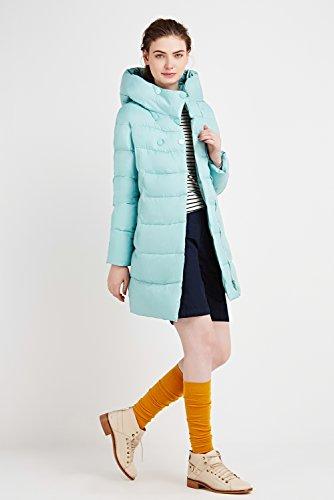 Trapuntata Down Giacca Caldo Cappotto Blu Icebear Invernale Lunga Da Donna Chiaro Colletto Incappucciato xzqRXZ