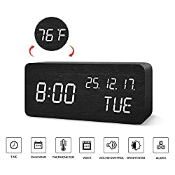 BlaCOG Digital Alarm Clock with Wooden Desk LED Time, Week, Date/Month/Year and Temperature Display, Battery/USB Powered, 3 Alarm Settings, Adjustable Brightness  Black/White