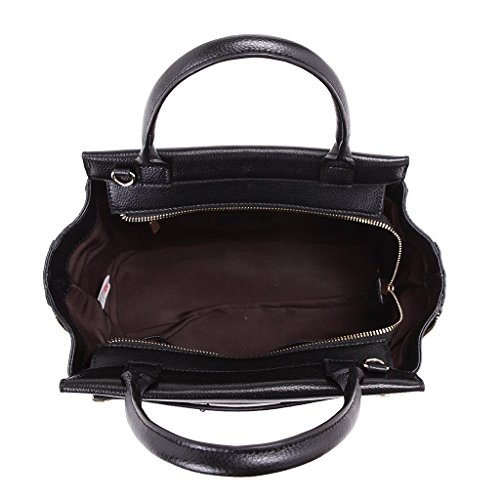 Sac mallette pour femme en cuir véritable avec bandoulière et fermetures latérales DUDU Noir