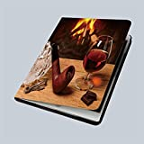 iPad 9.7' 2018 / iPad Air 1/2 Case a Glass of Brandy Chocolate and Tobacco Pipe on Oak Table on The Background of a...