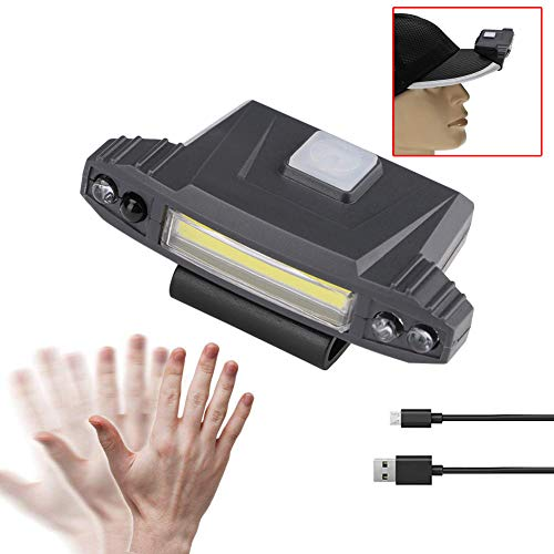 Ketteb Valentines Day Promotional Infrared Induction LED USB Rechargeable Clip On Cap Light Headlamps Outdoor