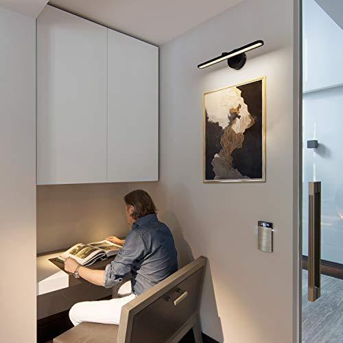 MantoLite LED Wall Light, 15inch Aluminum Frame Picture Lighting, Plug-in Bathroom Mirror Lamp,11W 880LM CRI90 3000K Warm White Black Finish