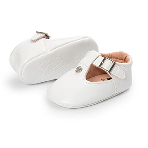 Hunpta Kleinkind Neugeborene Baby Schuhe Leder Leder Sole Krippe Kleinkind Anti-Rutsch Nette Schuhe Weiß