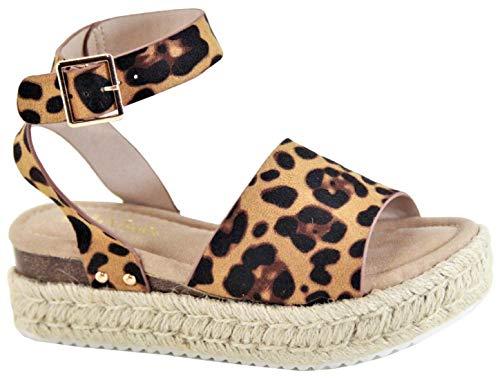 Women Flatform Platform Espadrille Ankle Strap Open Toe Wedge Sandal Leopard Animal Print Bessy-1