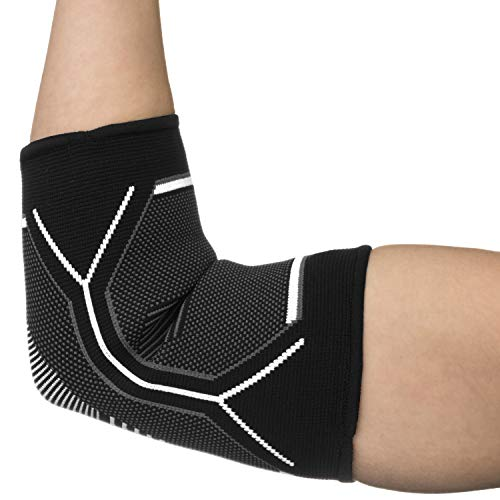 Kunto Fitness Elbow Brace Compression Support Sleeve for Tendonitis, Tennis Elbow, Golf Elbow Treatment - Reduce Joint Pain During Any Activity! (Medium, White-Gray) by Kunto Fitness Products (Image #2)