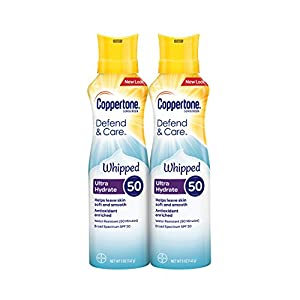 Coppertone Defend & Care Oil Free Sunscreen Face Lotion SPF 50, 3 Fluid Ounce Pack of 2 + Stick .25 Ounces