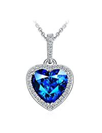 """Necklace, Christmas Gift with Exquisite Package 925 Sterling Silver Heart Pendant Necklace with Blue CZ J.Rosée Fine Jewelry for Women """"Poseidon"""" , 18''+ 2"""" Extender"""