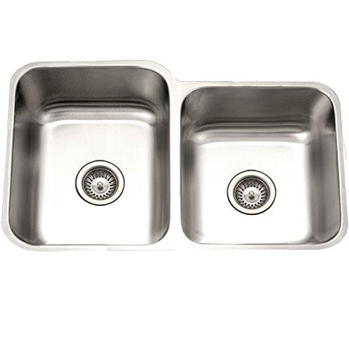 ton Series Undermount 60/40 Double Bowl Kitchen Sink T-304 Stainless Steel ()